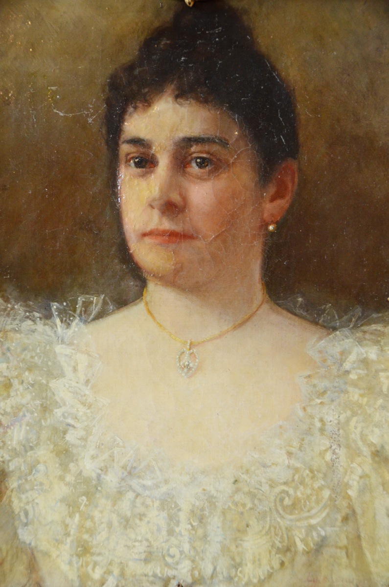 18th C. Portrait Woman Oil Painting w/Necklace-