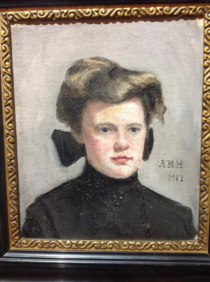 Antique Painting of Girl Dated 1912-