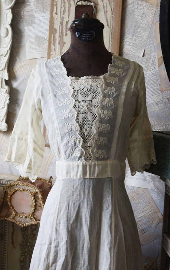 Edwardian French Antique Lace Day Dress-