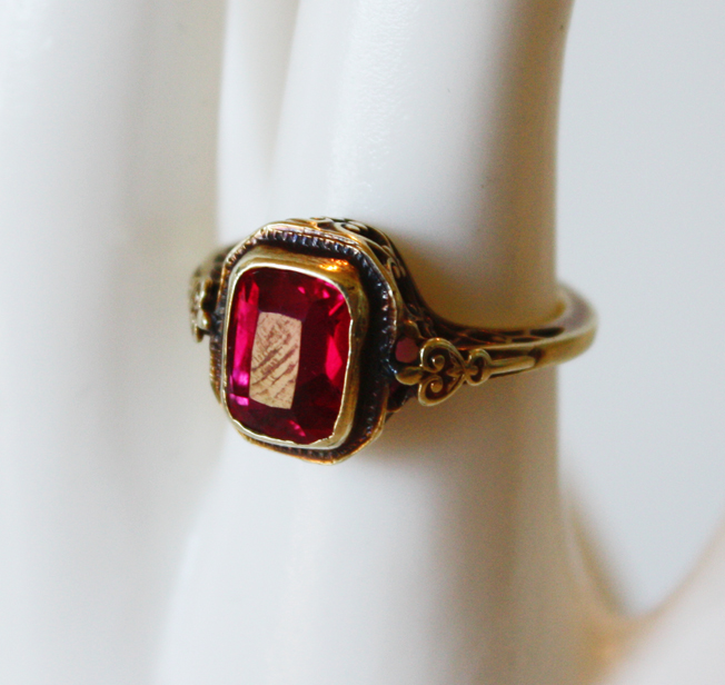 1900s Fine Faceted Garnet Rose Gold Ring-