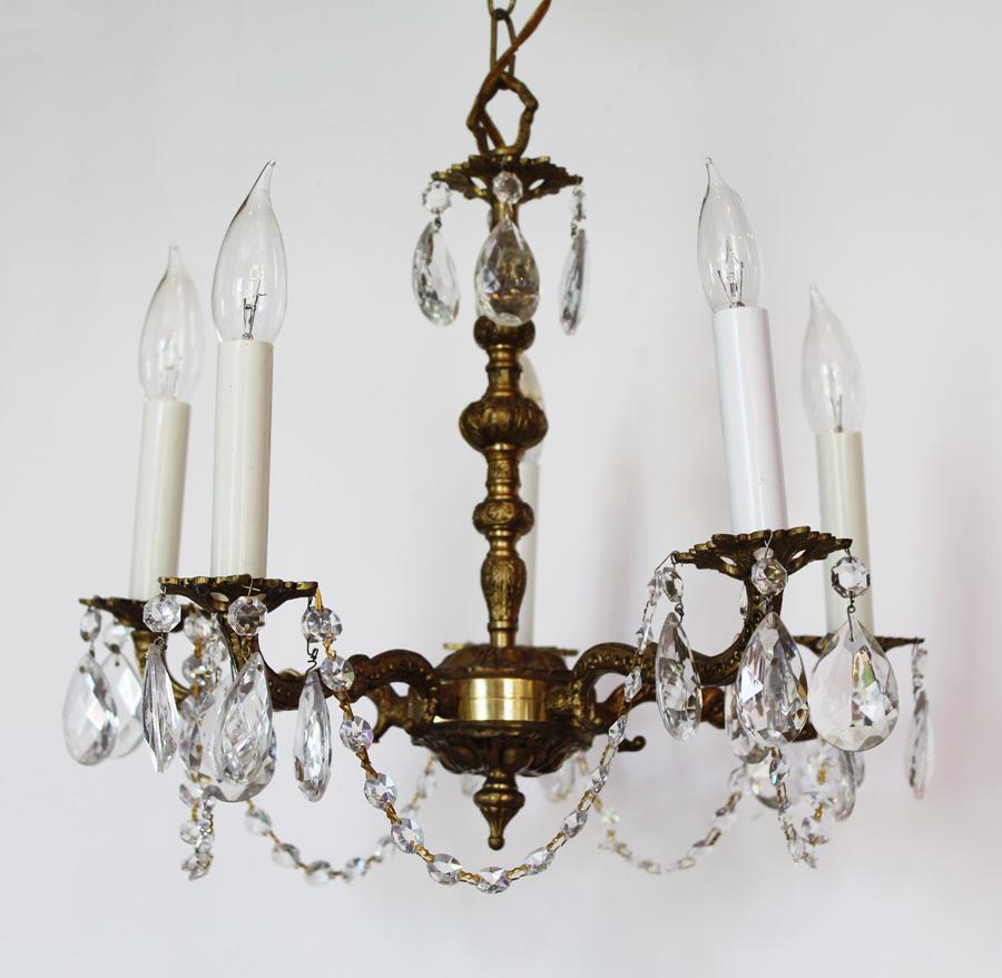 Petite Antique Brass & Crystal Chandelier-