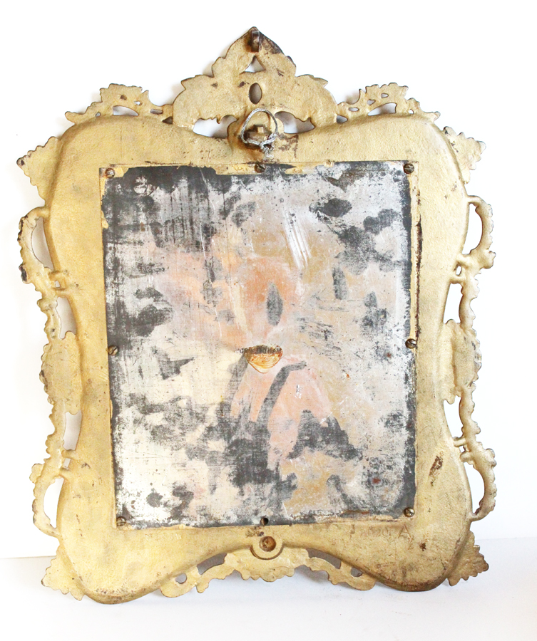 Antique Bronze European Picture Frame With Crowned Nobleman Photo-