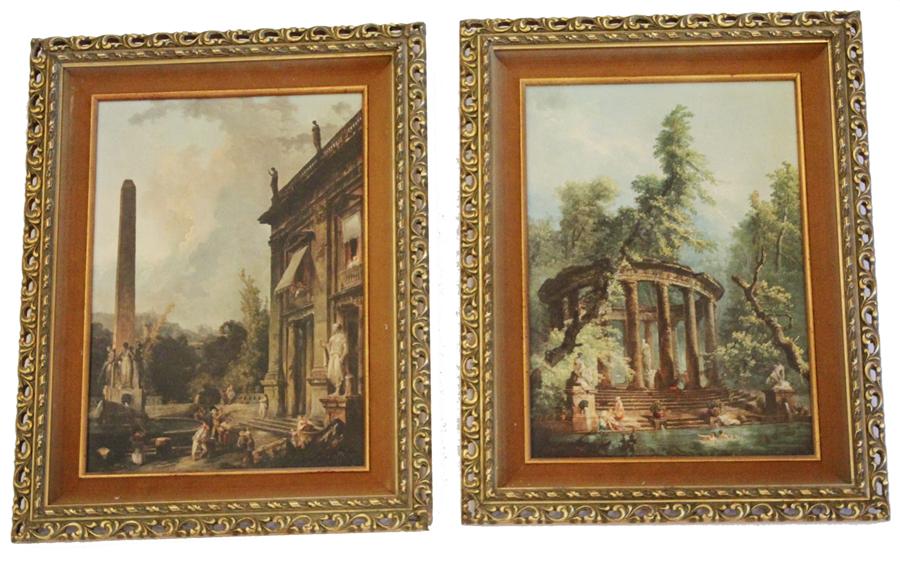 Antique Pair Framed Architectural Landscape Prints Florentine-Florentine, prints, Paintings, art, antique, framed, Italy, france, wall art, artist