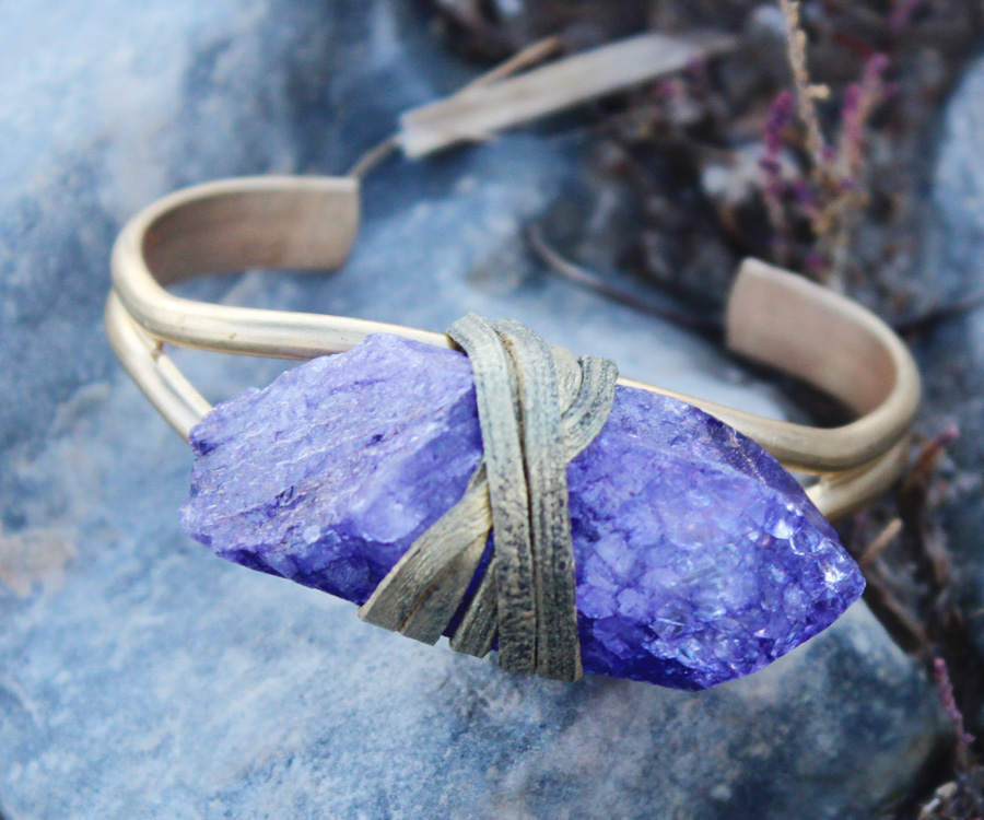 Purple Rock Crystal Quartz Bracelet-Rock It Gypsy Designs-
