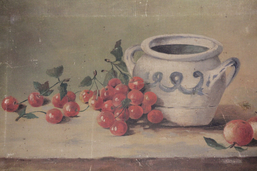Antique Early 1900s Cherries Oil Painting Beautiful-