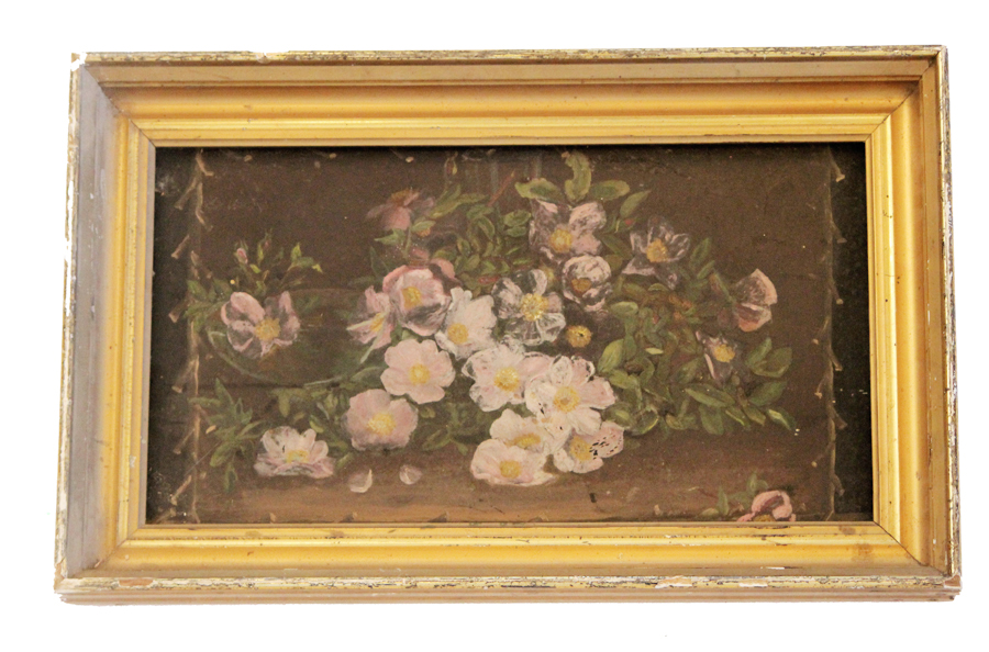 Victorian Wild Roses Late 1800s Painting on Metal Original Frame-