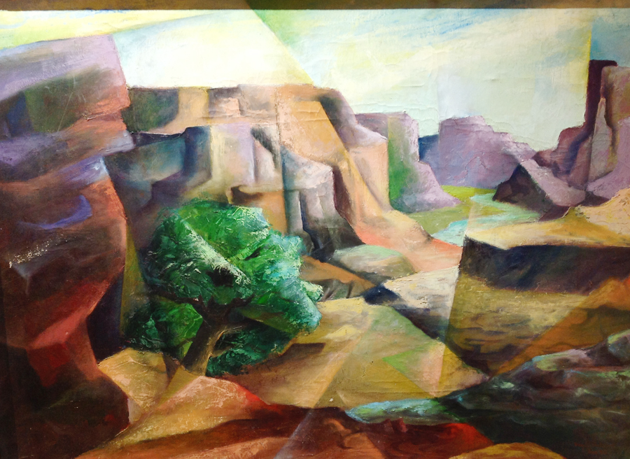 Abstract Landscape Mid-Century Oil on Canvas Listed Utah Artist-