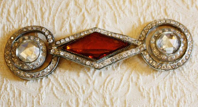 Amber and Rhinestones Vintage Brooch/Pin-