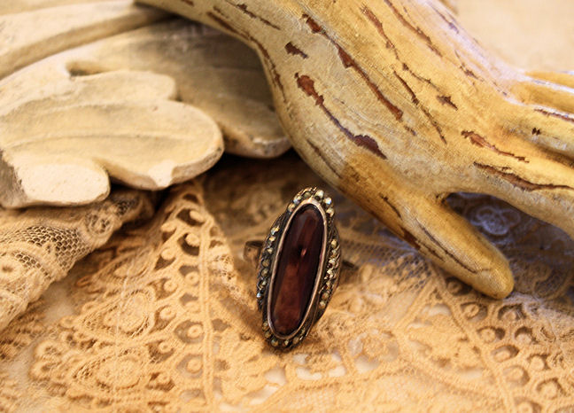 Antique Sterling Silver Amythyst Ring-