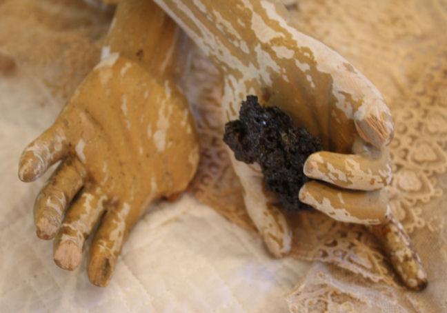 Pair 1800s Santos Carved Wood Hands Orig Paint-