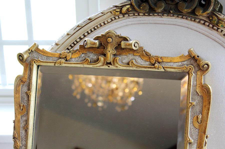 Antique Gilt Beveled Carved Mirror Gorgeous Details-
