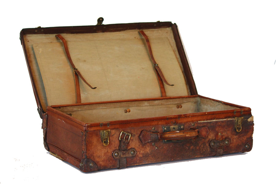 Beautiful Antique Leather Suitcase Linen Lining-