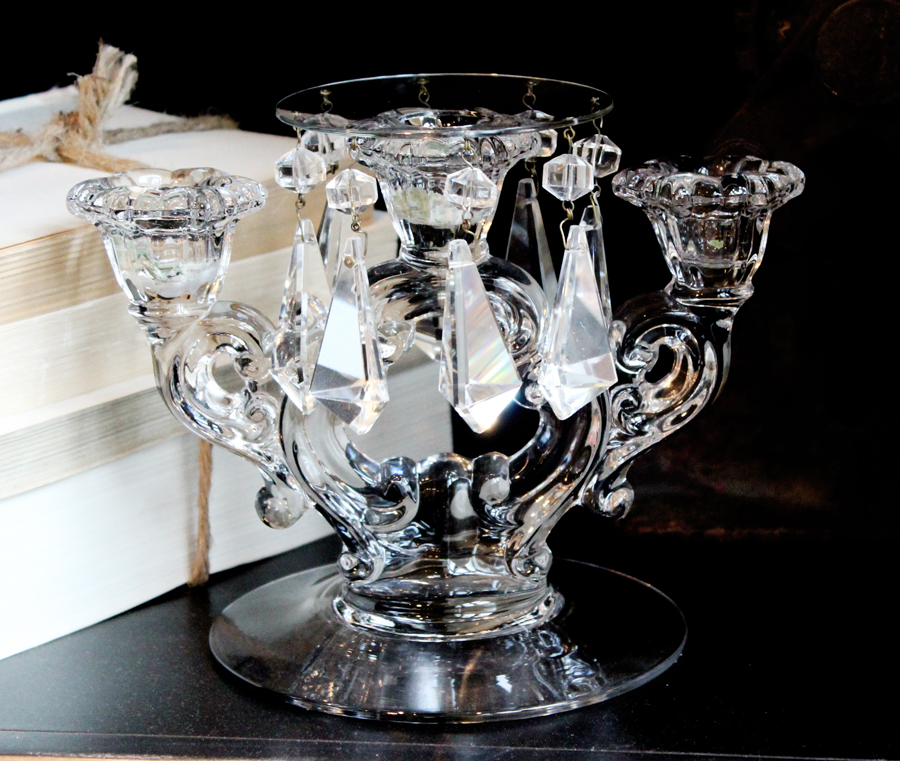 Pair Antique Crystal Prism & Bobeche Candelabra Candlesticks-