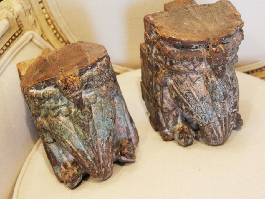 Antique Pair Carved Architectural Fragements Early 1800s Elephants-