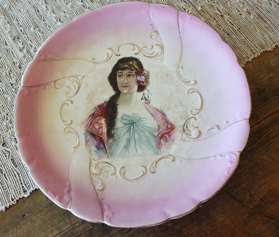 Rare Gorgeous Brunt Art Ware Maiden Plate-