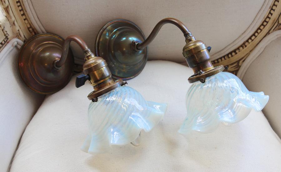 Rare Pair Antique Murano Glass Wall Sconces-