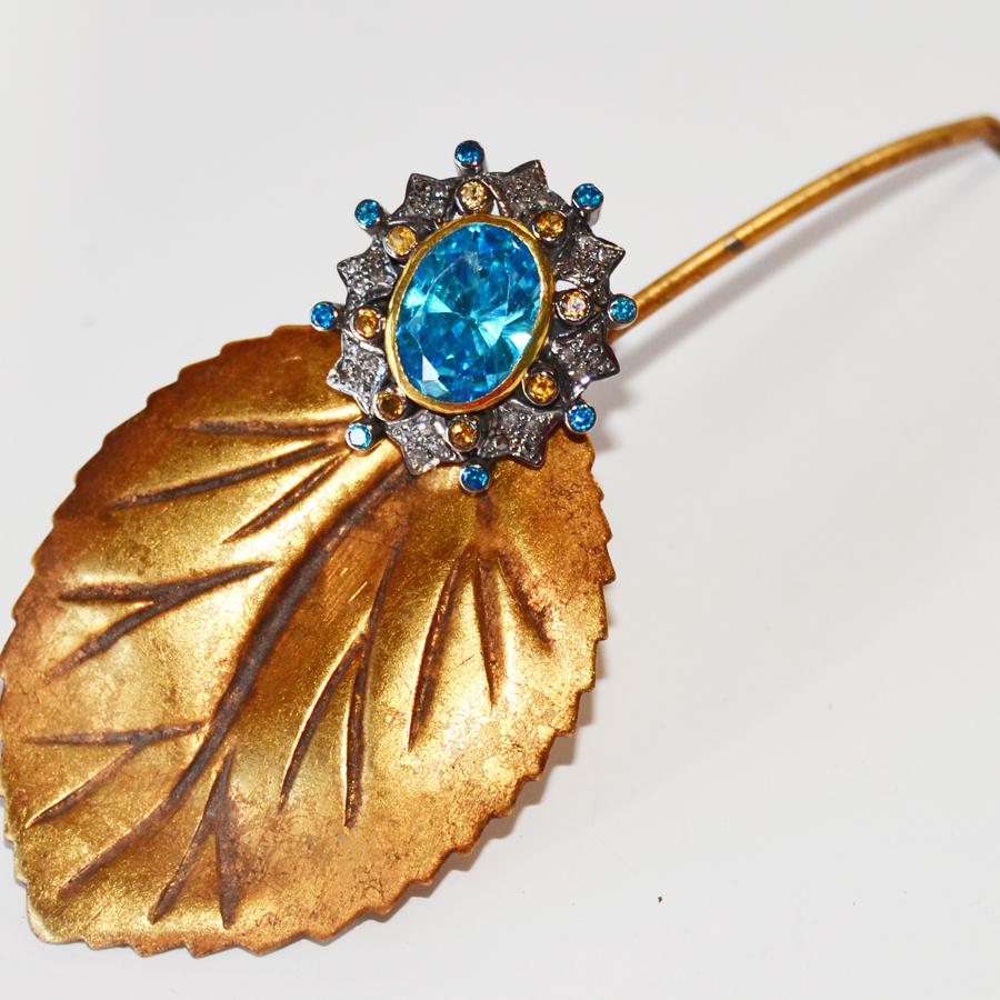 2.42 Carat Diamond & Blue Topaz Ring-