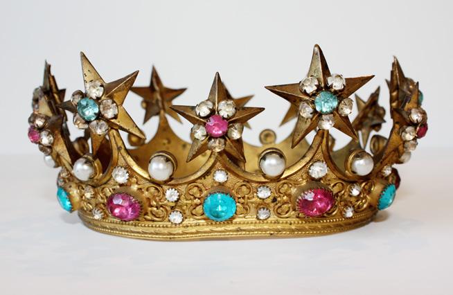 1800s Incredible Jeweled Saints Crown Lifesize-