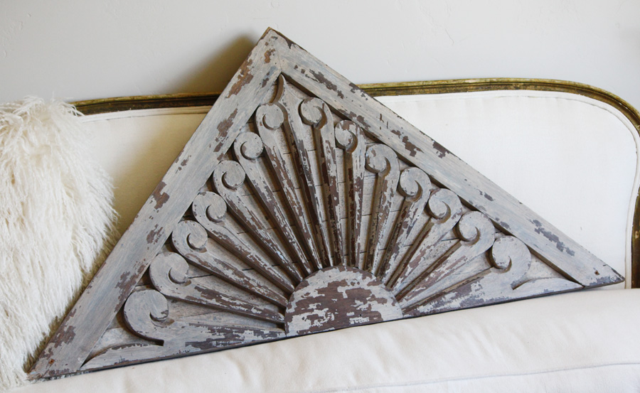 Gorgeous Dove Grey Antique Architectural Pediment Wall Decor-