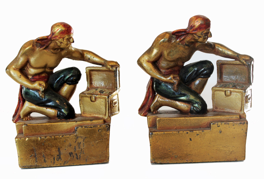Pair Antique Cold Painted Bronze Pirate Bookends-
