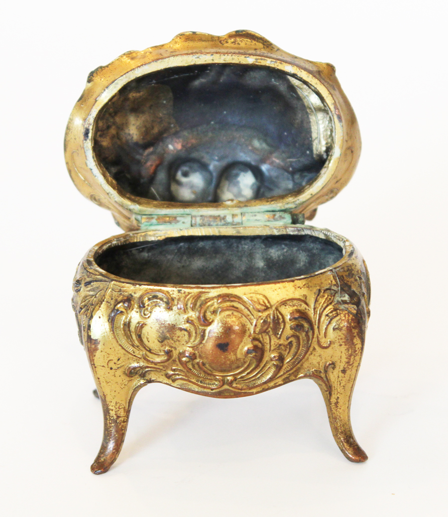 Antique Ring Footed Jewelry Box So Beautiful-Jewelry, Estate, Estate Jewelry, French, Antique, Vintage, Earrings, Necklace, Bracelet, Ring, Diamond, Silver, Gold, Jewelry Box, Gold Gilt, Ormolu
