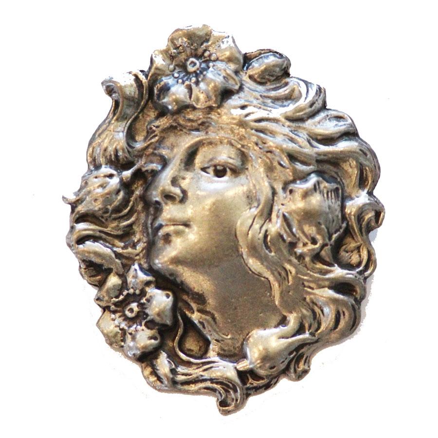 Beautiful Vintage Metal Art Nouveau Lady Pewter Pendant-