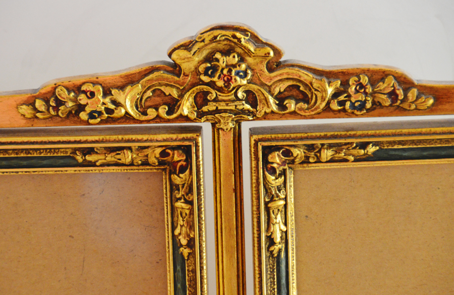 Antique Barbola Swivel Double Picture Frame-