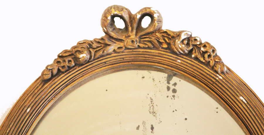 Antique Oval Barbola Mirror Muted Gold Gilt-