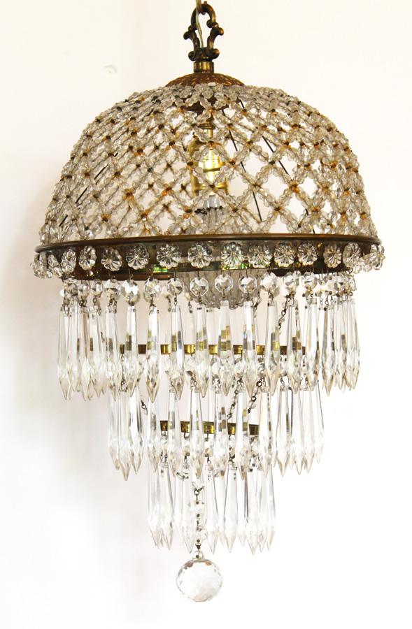 Antique Beaded Dome Wedding Cake Chandelier-antique, lighting, chandelier, wall sconces, beaded, French, vintage, shabby chic, beaded sconce, Italian, pendant, European, sconce