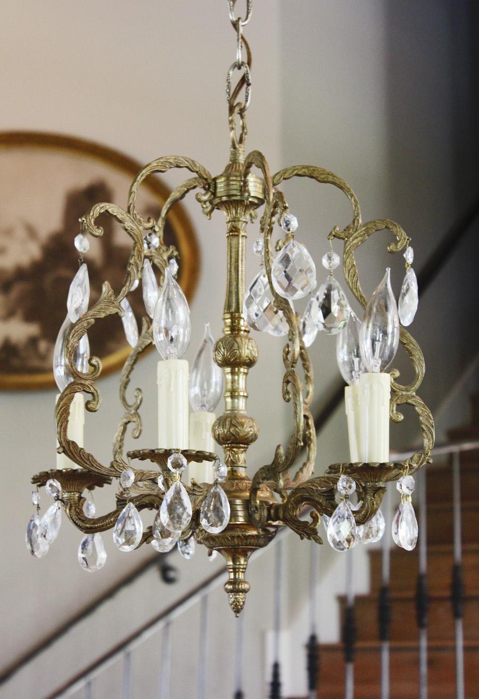 Antique Brass Birdcage Style Crystal Chandelier-