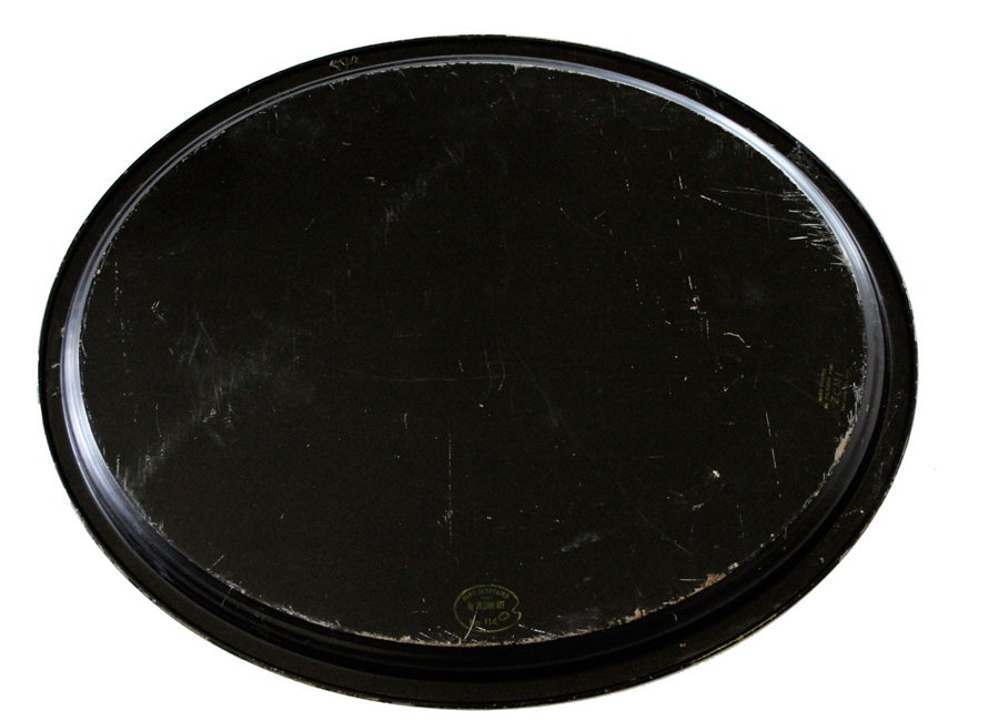 Antique Handpainted & Signed Xlrg Floral Tole Tray-