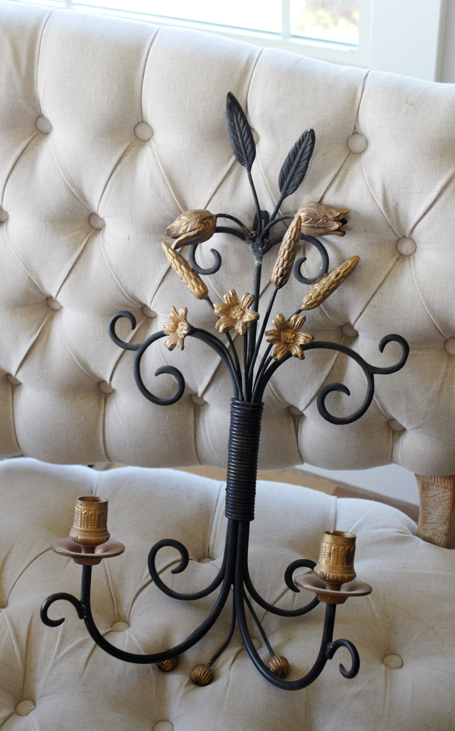 Antique Italian Gilt & Black Candle Wall Sconce-