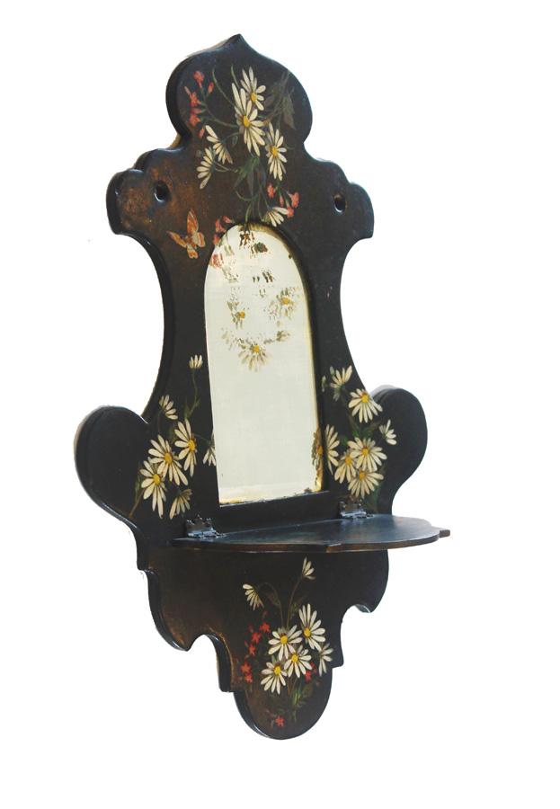 Antique Hand Painted Victorian Shelf Mirror Breathtaking-