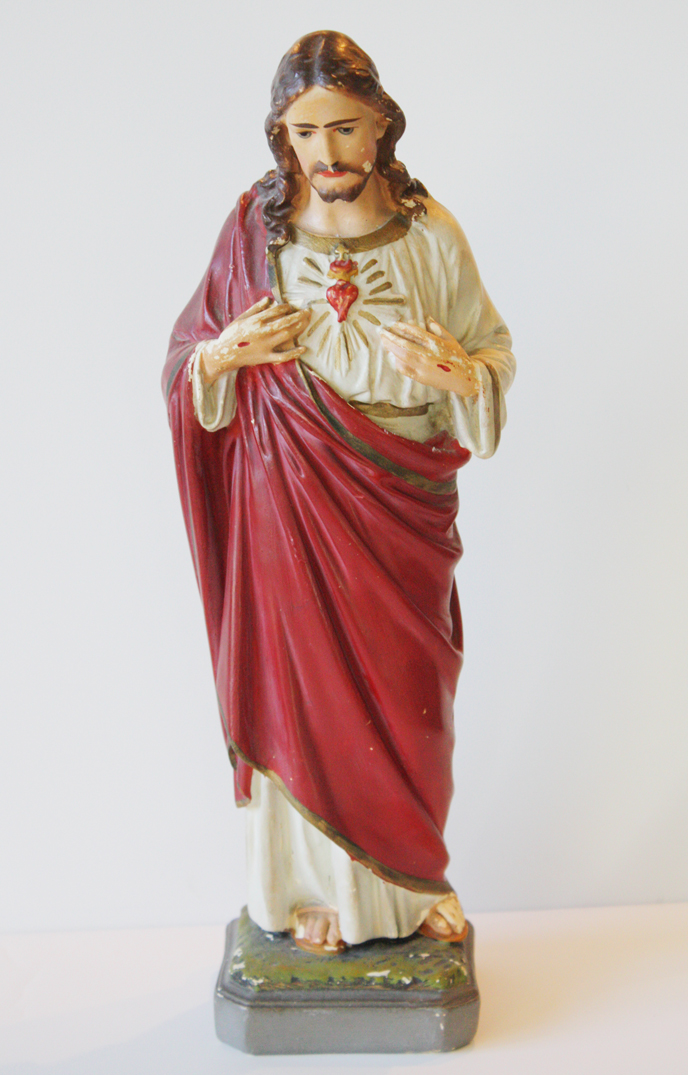 Antique Chalkware Jesus of Sacred Heart Statue-