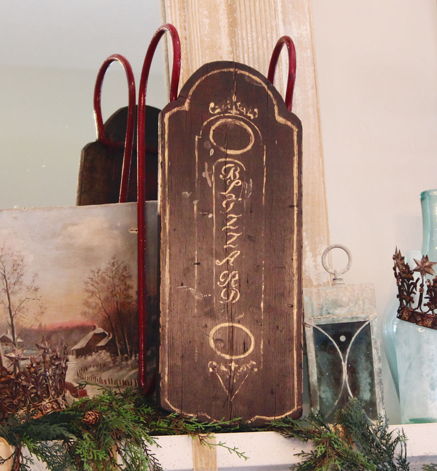 """Antique Late 1800s Xmas Sled """"Blizzard""""-"""