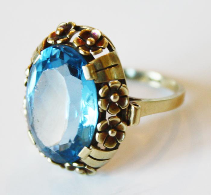 1940s Estate Ring Blue Zircon 14K Yellow Gold-