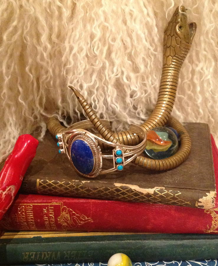 Boho Antique Native American Blue Lapis Sterling Bracelet Cuff-