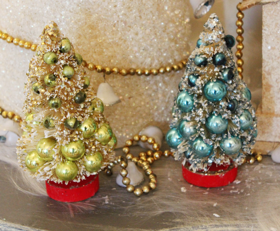 Pair Antique Bottle Brush Trees w/Mercury Glass Ornaments-