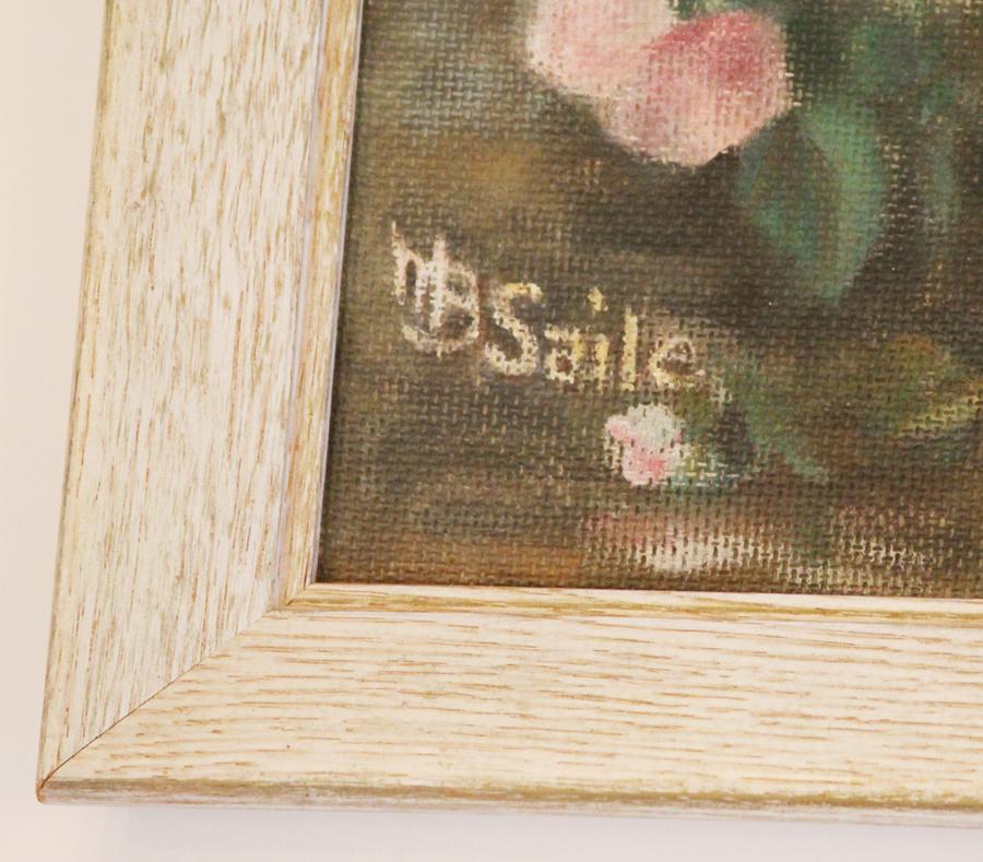 Vintage Floral Framed Painting Bowl Of Roses-