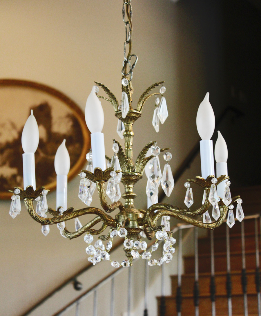 Crystal Chandelier Antique Brass Gorgeous Prisms-