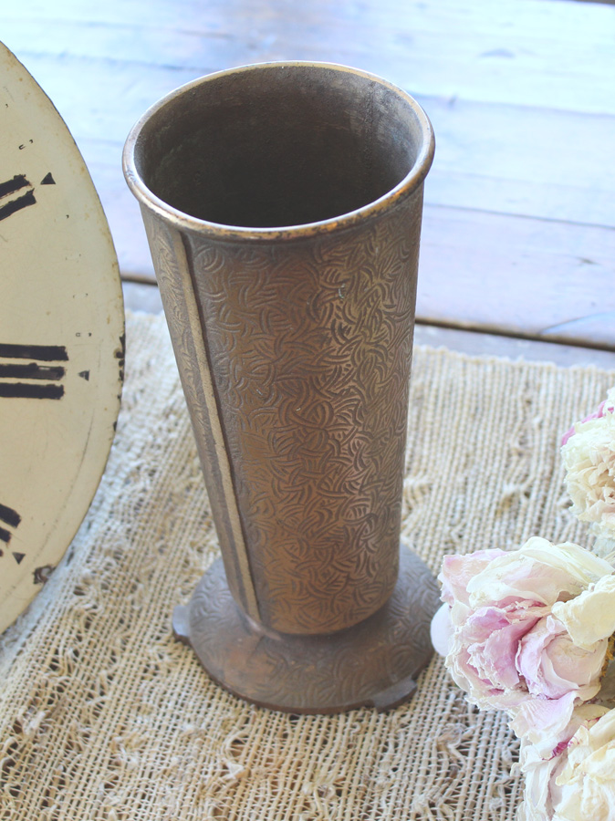 Antique Bronzed Metal French Funeral Vase-
