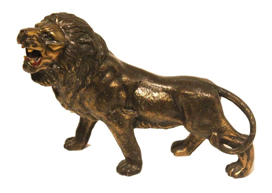 Antique Cold Painted Bronze Lion Sculpture-