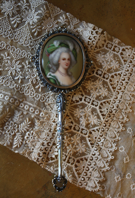 Handpainted Miniature Hand Mirror Sterling w/ Painted Cameo-