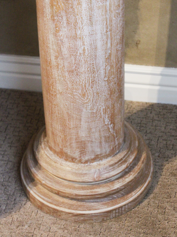 Antque Hand Carved Tall Wood Pillar w/Ornate Capital-