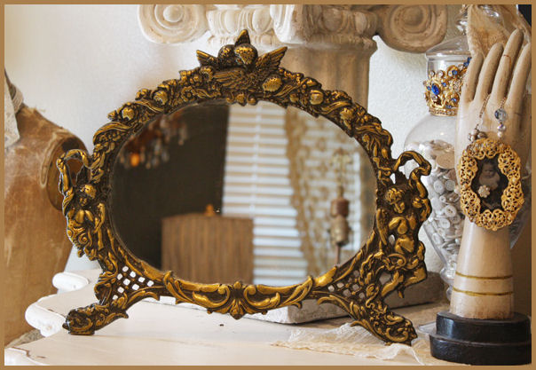 Antique Easel Back Cast Iron Mirror w/Cherubs-