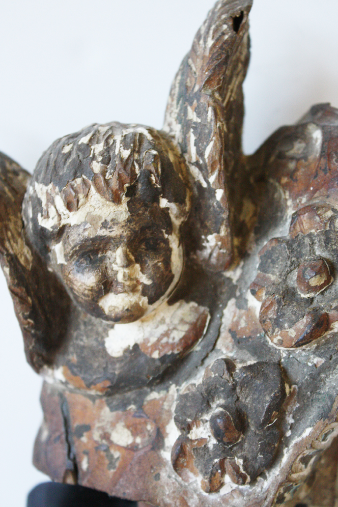 Hand Carved Antique 1800s Cherub From Shrine-