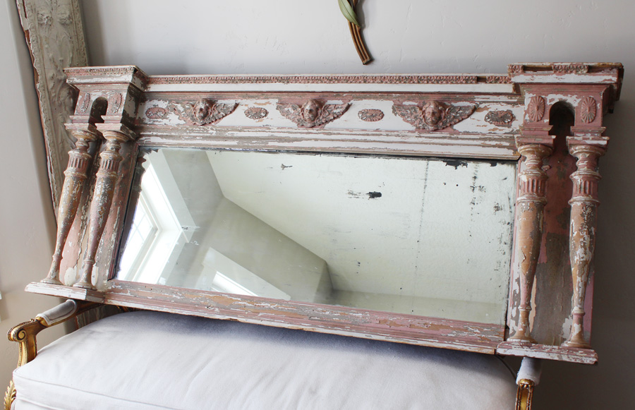 The Best Antique Rare Incredible Chippy Mantle Mirror-