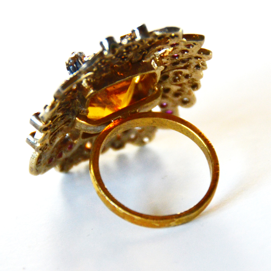 Citrine, Rose Cut Diamonds, & Rubies Vintage Ring-