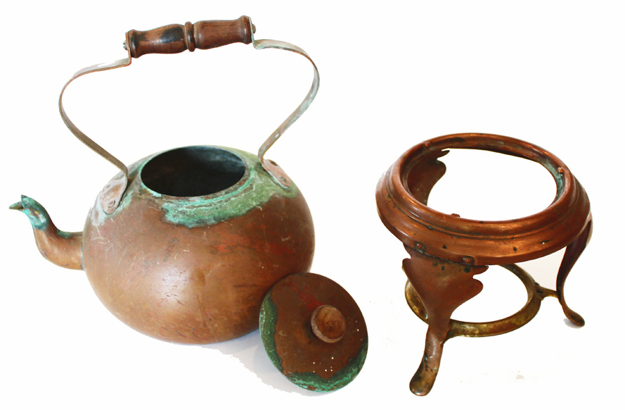 Antique Copper Tea Kettle w/Warmer-antique, copper, tea kettle, french