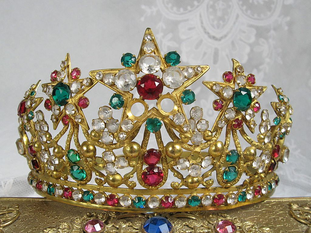 French Antique Tiara Crown 1800s Beauty Lifesize-